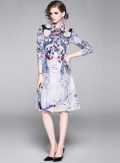 Print Lapel Tied Shirt Dress