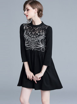 Lace Patchwork Embroidered Shift Mini Dress