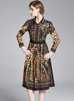 Print Lapel Pleated Midi Dress