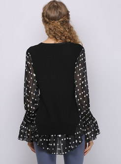 Flare Sleeve Dot Patchwork Sweater