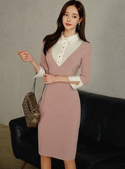 Color-blocked Patchwork Lapel Sheath Dress