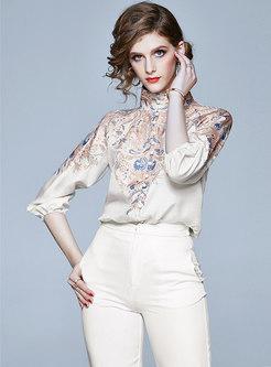 Stand Collar Raglan Sleeve Print Blouse