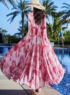 Print Chiffon Slim Beach Maxi Dress
