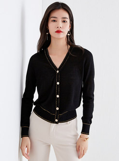 Color Block V-neck Button-front Cardigan