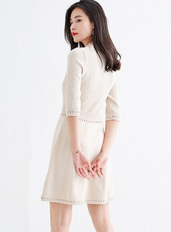 Wide Lapel Openwork Knitted Skater Dress