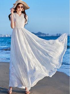 Jacquard V-neck Elastic Waist Maxi Dress