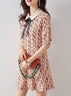 Print Lapel Bowknot Shift Dress
