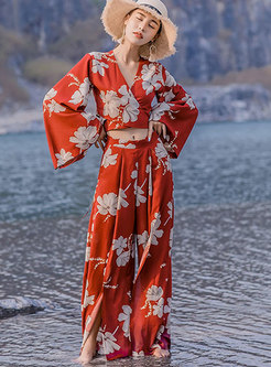 Print Flare Sleeve Slit Pant Suits
