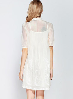 Embroidered Stand Collar Ruched Shift Dress