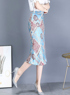 Print High Waisted Sheath Peplum Skirt