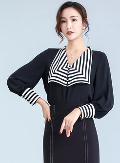Color-blocked V-neck Pullover Chiffon Blouse