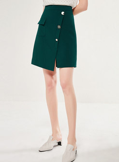 Asymmetric High Waisted Mini Skirt