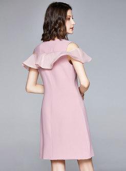 Open Shoulder Full-zip Bodycon Dress