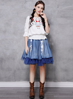 Denim Patchwork Ruffle A-line Skirt