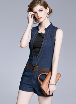 Denim Stand Collar Patchwork Romper