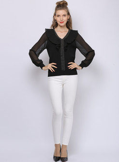 Ruffle Patchwork Studded Pullover Sweater