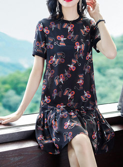 Cartoon Print Falbala Shift Dress