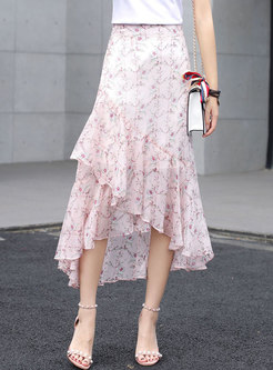 Floral Asymmetric Ruffle Chiffon Skirt