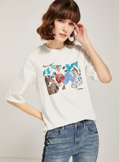 Print Crew Neck Cotton T-shirt