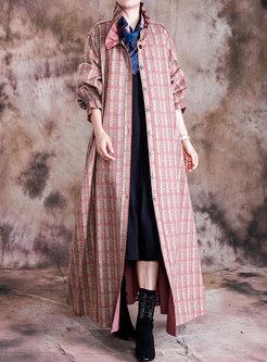 Plaid Patchwork Wide Lapel Loose Coat