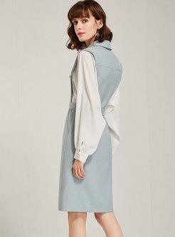 Patchwork Bat Sleeve Belted Bodycon Dress