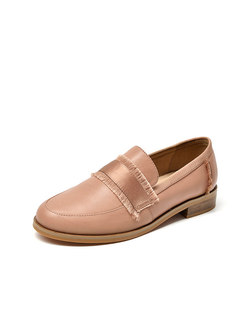 Square Toe Chunky Heel Loafers