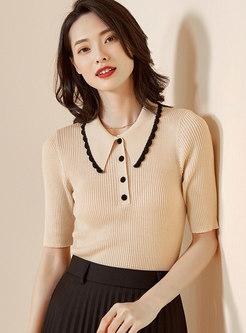 Lapel Short Sleeve Slim Knit Top