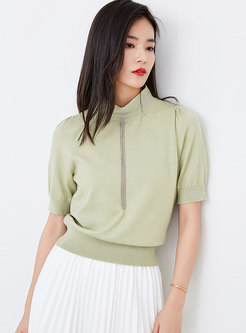 Stand Collar Tassel Short Sleeve Sweater