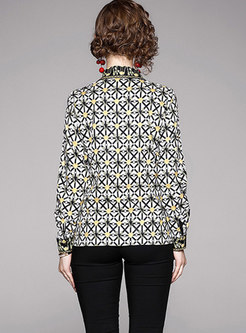 Geometric Print Lapel Blouse