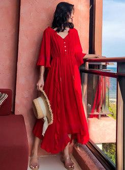 Elastic Waist Asymmetric Maxi Beach Dress