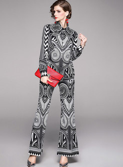 Print Lapel Flare Pant Suits