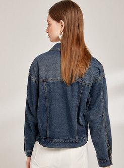 Lapel Single-breasted Beaded Denim Jacket