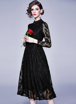 Stand Collar Embroidered Lace Midi Dress
