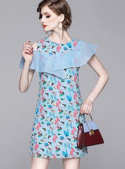 Open Shoulder Print Ruffle Bodycon Dress