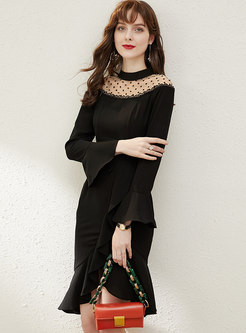 Mesh Patchwork Ruffle Asymmetric Sheath Dress