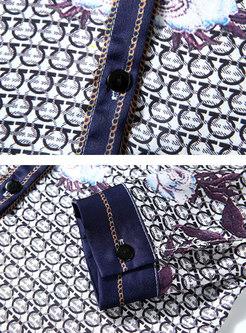 Vintage Print Lapel Buttoned Blouse