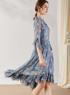 Floral Tied Asymmetric Falbala Skater Dress