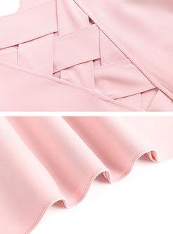 Pink Cold Shoulder Falbala Mini Skater Dress