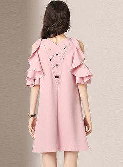 Cold Shoulder Falbala Mini Skater Dress