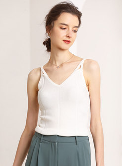 Solid Color V-neck Knitted Camis