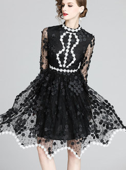 Color Block Asymmetric Mesh Skater Dress
