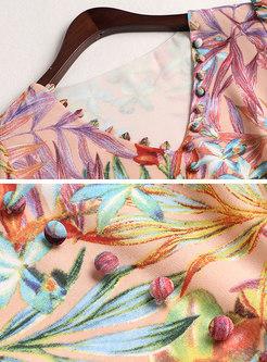 Print V-neck Tied Slim Midi Dress