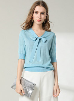 Half Sleeve Bowknot Pullover Knit Top