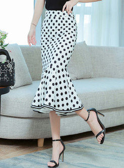 Polka Dot Sheath Peplum Skirt