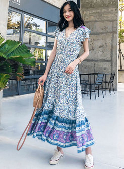 Bohemia Floral Drawcord Maxi Dress