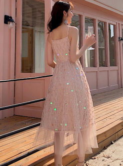 Mesh Patchwork Sequin Slip Maxi Dress