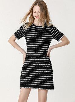 Brief Striped Crew Neck Mini Sweater Dress