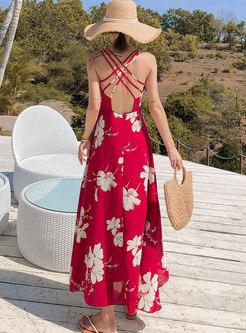 Bohemia Print Backless Slip Maxi Dress