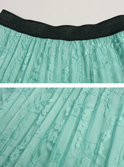 Lace Color Block High Waisted Pleated Skirt