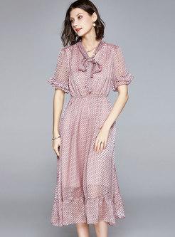 Elastic Waist Bowknot Print Midi Dress